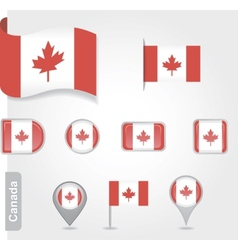 The Canadian flag - set of icons and flags vector image vector image