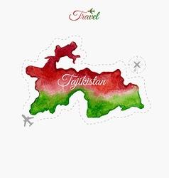 Travel around the world Tajikistan Watercolor map vector image vector image