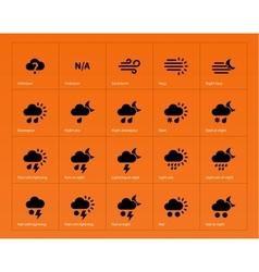 Weather icons on orange background vector image vector image