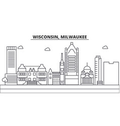 wisconsin milwaukee city architecture line vector image
