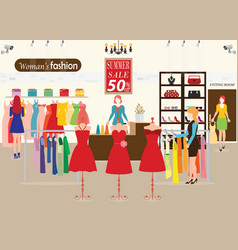 women shopping in a clothing store with dummies vector image vector image