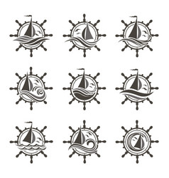 yacht helm and waves icons vector image vector image