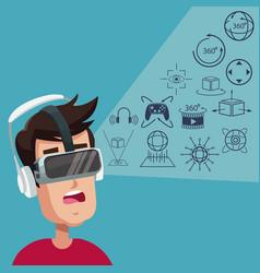 Young man virtual reality wearing goggle digital vector