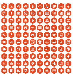 100 mother and child icons hexagon orange vector