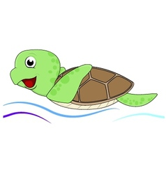 Turtle with water waves vector