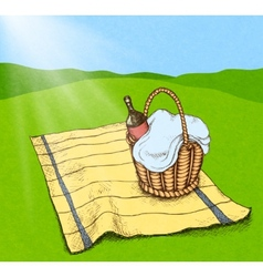 Picnic basket with food and wine vector