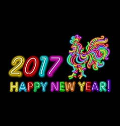 2017 happy new year rooster neon color light vector