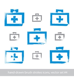Set of brush drawing simple blue first aid kit vector
