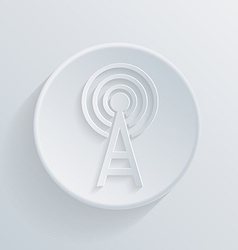 Paper flat icon with a shadowtower of the wi fi vector