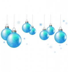 christmas background with blue balls vector image
