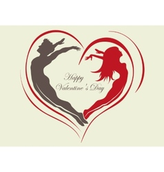 Loving couple with a heart vector