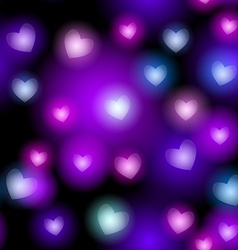 Abstract seamless pattern with neon hearts on vector