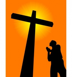 praying before the cross vector image