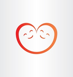 Twins babies smile heart shape love icon vector