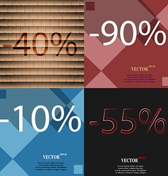 90 10 55 icon set of percent discount on abstract vector