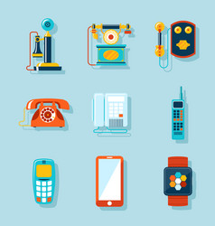 Flat phone icons vector