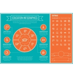 Education line design infographic template vector