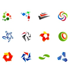 12 colorful symbols set 10 vector
