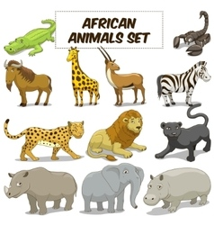 Cartoon african savannah animals set vector