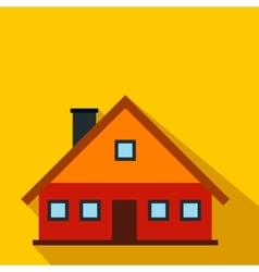 Red cottage flat icon vector
