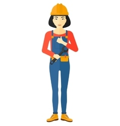 Cheerful repairer with spanner vector