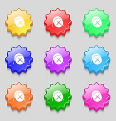 Drum icon sign symbol on nine wavy colourful vector