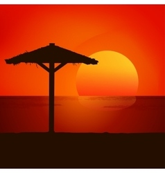 Sunset on the beach background vector