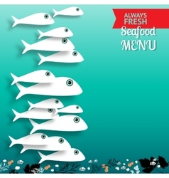 Seafood menu composition with place for your text vector