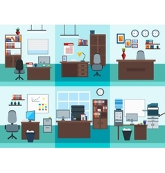 Office interior icon set vector