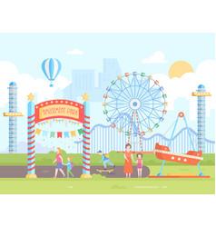 Amusement park - modern flat design style vector