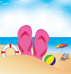 Beach umbrella with chair on the beach slipper and vector