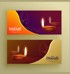 Diwali festival banners card with diya and floral vector