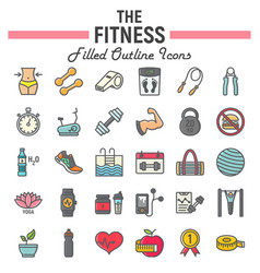 fitness filled outline icon set sport signs vector image