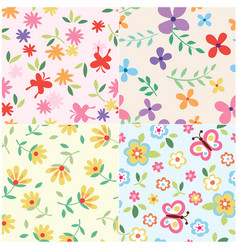 floral set pattern vector image
