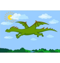 Green fairy dragon flies in the blue sky vector image