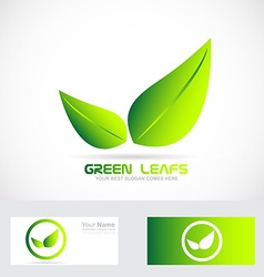 Green leafs bio logo vector