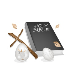 Holy Bible with Wooden Cross and Easter Eggs vector image