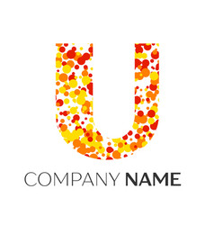 Letter u logo with orange yellow red particles vector