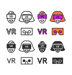 Man in virtual reality headset icons set vector