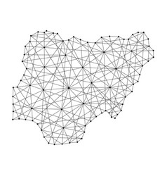 Map of nigeria from polygonal black lines and dots vector