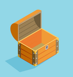 open treasure chest isolated flat isomertic design vector image vector image