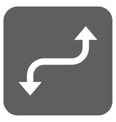 Opposite curved arrow flat squared icon vector