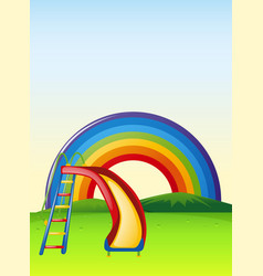 Park scene with slide and rainbow vector