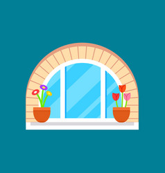 residential window with flower on windowsill vector image vector image