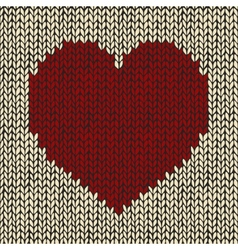 Seamless pattern with red knitted heart vector image