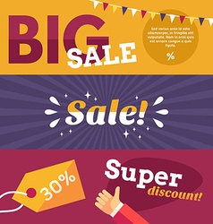 Set of Flat Design Big Sale Banners Concepts for vector image vector image