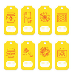 Set of tags for beekeeping honey apiary vector