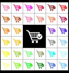 Shopping cart with check mark sign felt vector