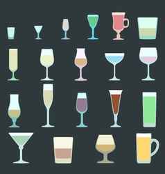 solid colors alcohol glasses set vector image vector image