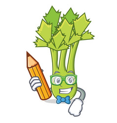 Student celery character cartoon style vector